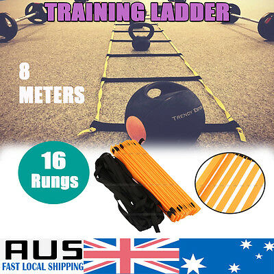 16 Rung Agility Speed Sport Training Ladder 8M Soccer Football Fitness w/ Bag AU