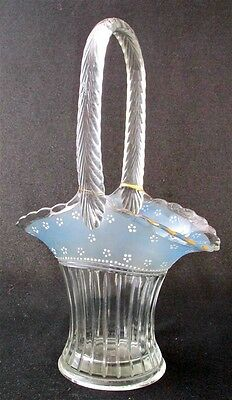 "Elegant Duncan Miller Glass painted basket, 12 1/2"" h."