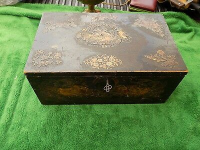 Antique/Vintage Wood Box With Lock & Keys Jewelry,Storage Large Estate Find