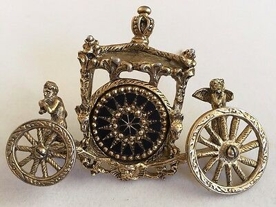 RARE Style Vtg Huge Signed Dalsheim Cinderella Queen Carriage Coach Pin Brooch