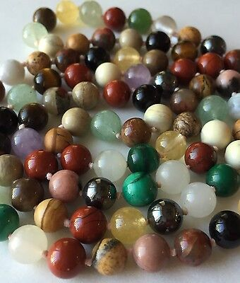 Hand Knotted Vintage Chinese Multi-Color Jadeite Jade  Beaded Necklace