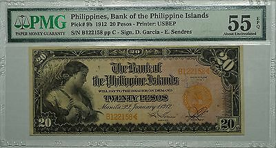 1912 Bank of Philippines 20 Pesos, Pick# 9b, PMG 55 EPQ, Rare