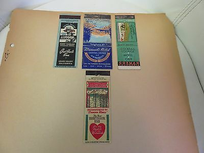 RARE 1900s 1910s 1920 matchbooks wide strikers hotels 4 total California