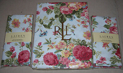 "9 pc Ralph Lauren ASHWOOD AQUA Blue Floral 60 X 120"" Tablecloth + Napkins"