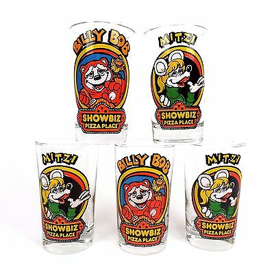 Billy Bob & Mitzi Showbiz Pizza Place Clear 8 oz drinking Glass Lot of 5 Vintage