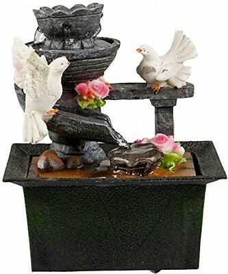 White Dove Birds Waterfall Water Fountain Indoor Table Desk Top Feature Decor