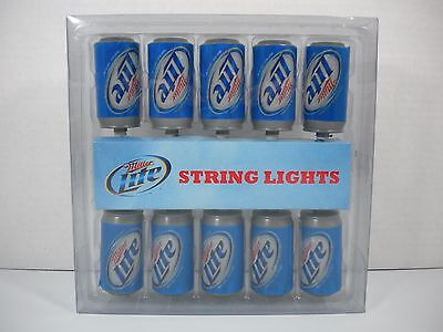 New - Miller Lite String Lights Pk of 10 Mini Cans Party Lights - Free Shipping!