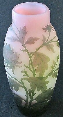 "French art glass tricolor green, pink and yellow Chrysanthemum cameo vase, 10"" h"