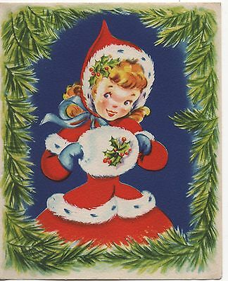 Pretty Lady Woman Girl Muff Dress Holly Pines  VTG Greeting Card Christmas