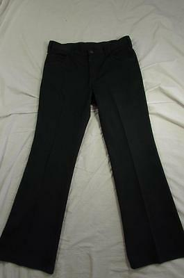 Vtg 70s Lee Green Polyester Pants Talon Zipper Measure 33x30.5 Flare Leg