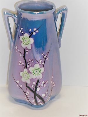 Adorable Mid Century Double Handle Blue Lusterware Vase With Floral Sprays-Japan