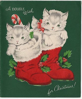 VTG Christmas Greeting Card Kitty Cat Kitten Red Stocking Flocked Candy Cane