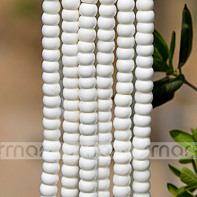 """White Natural Shell Round Flat Loose Beads 15.5"""" Inches Strand 10x7mm"""