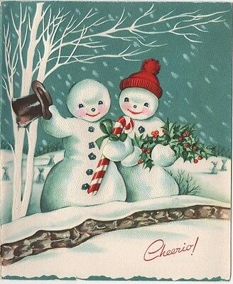 VTG Christmas Greeting Card Snowman Couple Candy Cane Holly Birch Tree Skis