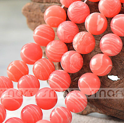 "Synthetic Rhodochrosite Round Loose Beads 15.5"" Inches Strand 4 6 8 10 12 14mm"