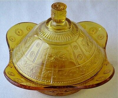 Bryce amber WILLOW OAK butter dish EAPG