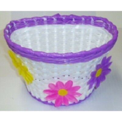 Brand new Girls Bike Basket Flower Front White with Purple Strip