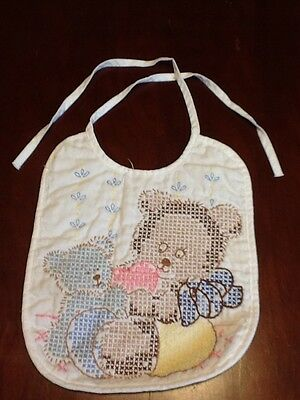 Baby Bib White Teddy Bear Hand Embroidered Bucilla 64072 Sweetheart Completed