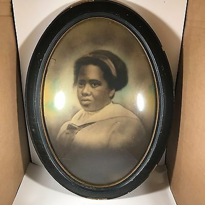 Antique Black Americana Young Girl in Wooden Bubble Glass Frame