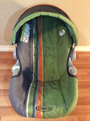 Graco 20 22 SnugRide Baby Car Seat Cushion Cover Canopy Part Set Green Gray