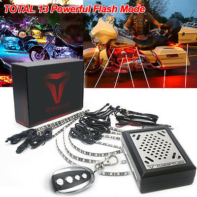 10PC Sound Function Accent LED Light Under Glow Strip Kit Motorcycle For Touring