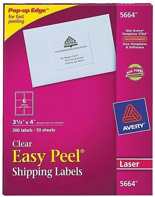 Avery 3-1/3 x 4 Easy Peel Laser Clear Mailing Shipping Labels - 300 Per Box