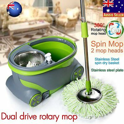 360 Degree Magic Spinning Mop Stainless Steel Spin-Dry Bucket w/ 2 Mop Heads AUO