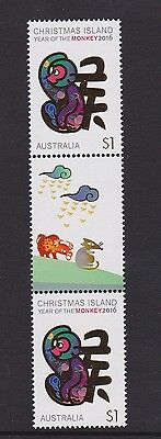 Christmas Island 2016 # 1 : Year of the Monkey &1 Gutter pair with Design, MNH