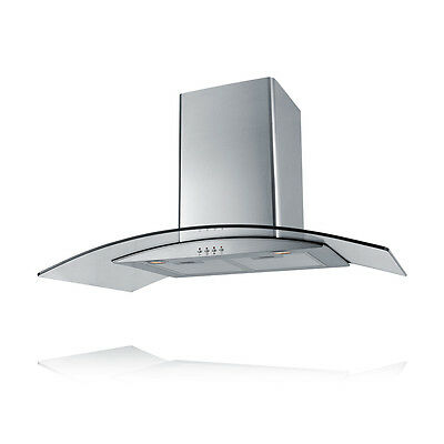 EVERDURE 90cm Canopy Curved Glass Rangehood Stainless Steel NEW