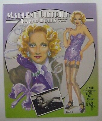 40's 50's Movie Star MARLENE DIETRICH Paper Dolls Book UNCUT David Wolfe Artist