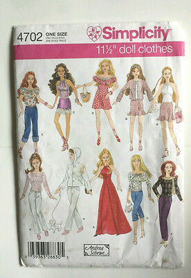 """Simplicity 4702 UNCUT Sewing Pattern for Barbie 11 1/2"""" Doll Dress Halter Jeans"""