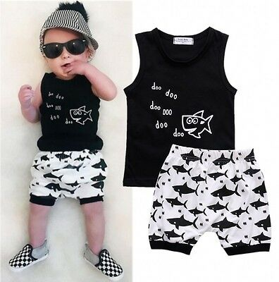2PCS Baby Boys Shark T-shirt Tops Shorts Summer Outfits Set Clothes US Stock