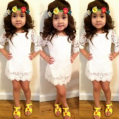 US Stock Toddler Kids Girl White Lace Floral Party Dress Summer Sundress Clothes