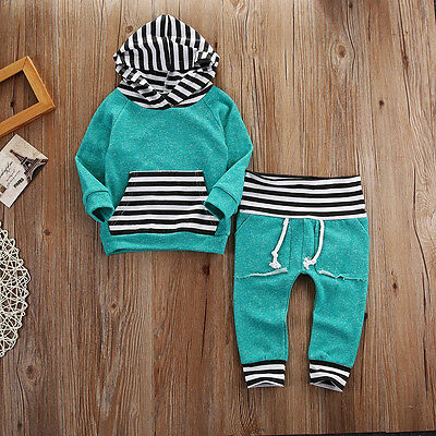 US Stock Toddler Baby Boy Stripe Pocket Hoodie Tops Pants Outfits Set Clothes