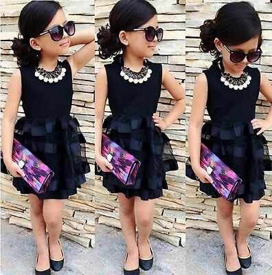 US Stock Toddler Kids Girls Sleeveless Tops Ruffle Tulle Dress Party Dresses