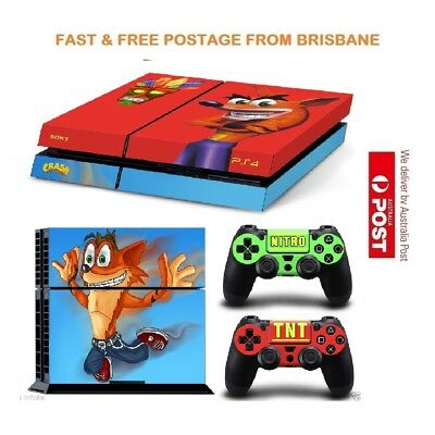 Crash Bandicoot PS4 Console Controller Decal Skin Sticker Brand NEW *AU STOCK*