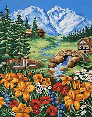 """Tapestry Canvas """"Spring In The Mountains"""" 11869 (50x60cm) Colour Printed"""