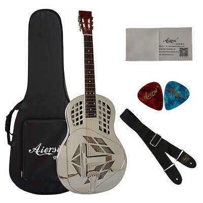 Silver Plated Brass body Tri-Cone Blues Slide Acoustic Resonator Guitar (A49-BC)