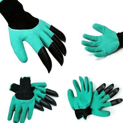 Hot tool Gloves For Digging&Planting w/4 ABS Plastic Claws Gardening xmas gift