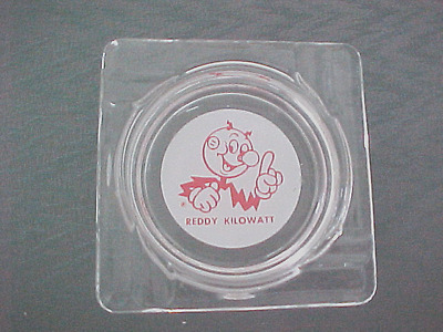 Vintage Clear Glass Sqaure Reddy Kilowatt Electricity Advertising Ashtray