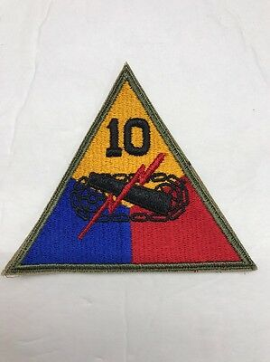 ORIGINAL WW2 Vintage 10th ARMORED TANK DIVISION PATCH US ARMY Cut Edge OD Border