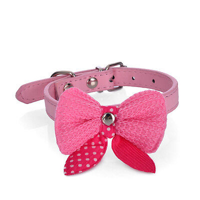 Knit Bowknot PU Leather Dog Puppy Pet Cat Collars Cute Necklace Pink Size Small
