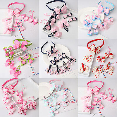 7 Pieces/Set Hair Accessories Baby Bowknot Hoop Bow Tie Shape Hairpin Girl Rope
