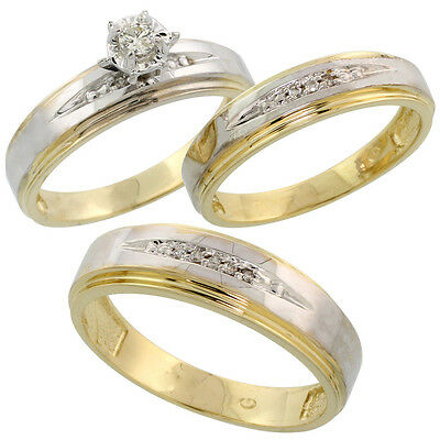 Gold Plated Sterling Silver Diamond Trio Wedding Ring Set His 6mm & Hers 5mm,
