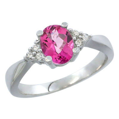 10K White Gold Diamond Natural Pink Topaz Engagement Ring Oval 7x5mm, sizes 5-10