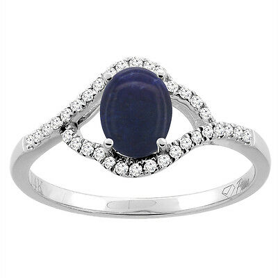 14K Gold Diamond Natural Lapis Engagement Ring Oval 7x5 mm, sizes 5 - 10