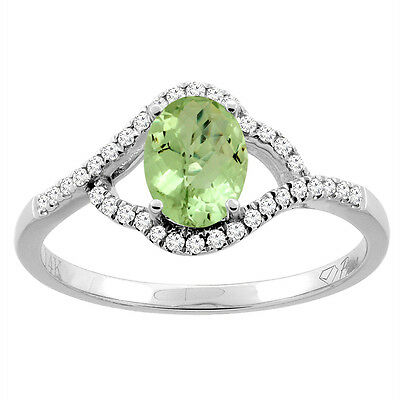 14K Gold Diamond Natural Peridot Engagement Ring Oval 7x5 mm, sizes 5 - 10