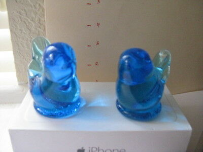Blue Bird Of Happiness Signed By Leo Ward 1987 & 96  Glass Paperweight  Figurine