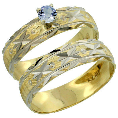 10k Gold Ladies' 2-Piece 0.25 Carat Light Blue Sapphire Engagement Ring Set
