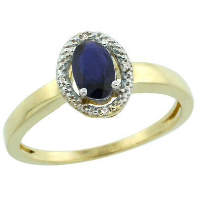 10K Yellow Gold Diamond Halo Natural High Quality Blue Sapphire Engagement Ring